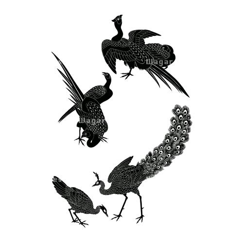雉きじと孔雀くじゃくシルエット 和風デザイン和柄素材なら