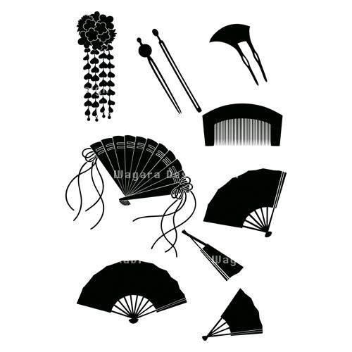 簪かんざし櫛くし扇おうぎシルエット 和風デザイン和柄