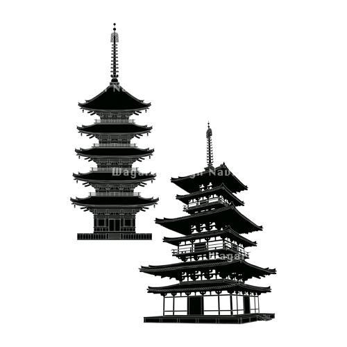 五重塔三重塔シルエット 和風デザイン和柄素材なら Wagara